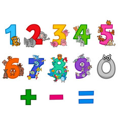 Educational numbers set with cartoon animals vector