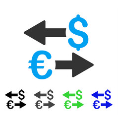 Euro dollar transactions flat icon vector