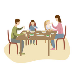 family dinner in kitchen at the big table mother vector image
