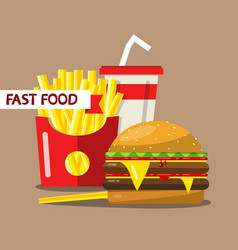 Fast food flat design meal french fries hamburger vector