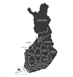 Finland map labelled black in english language vector