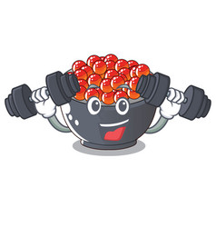 Fitness roe salmon in a cartoon bowl vector