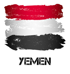 flag of yemen from brush strokes vector image