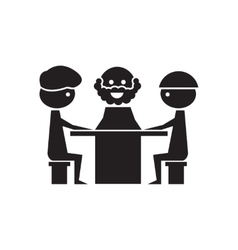 Flat icon in black and white business meeting vector