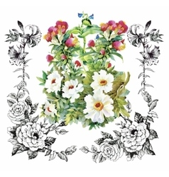 Floral background Floral card Watercolor floral vector image