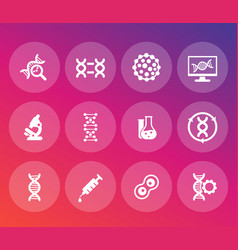 Genetics icons set dna genetic modification vector