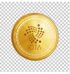 golden iota blockchain coin symbol vector image