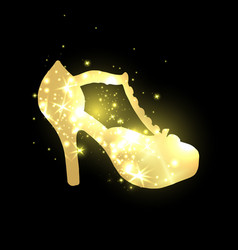 golden shining woman shoes with high heels vector image