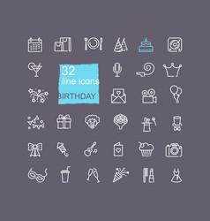 happy birthday party icon set vector image
