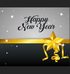 happy new year with stars and ribbon vector image