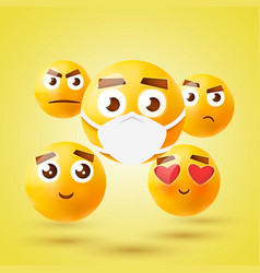 high quality emoticon 3d icon set emoji vector image