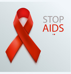 hiv awareness red ribbon world aids day concept vector image