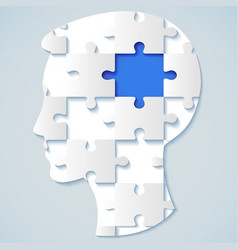 human face in the form of a puzzle with a blue mid vector image
