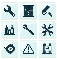 Industrial icons set with towers set of keys vector