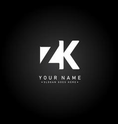 initial letter zk logo - minimal business logo vector image