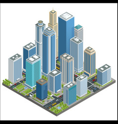 isometric city center map with skyscrapers vector image