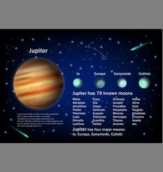 Jupiter and its moons educational poster vector