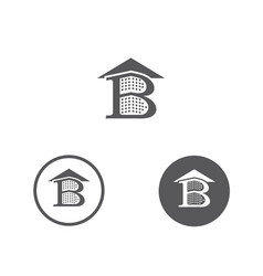 letter b building and rofor construction vector image