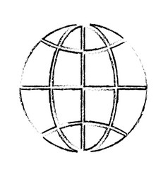 Line global symbol to earth planet vector
