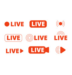 Live streaming icons livestream icon stream vector
