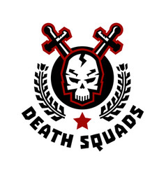 Logo death squad swords cross skull and wreath vector