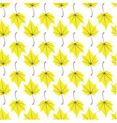 maple leaves seamless white yellow art vector image