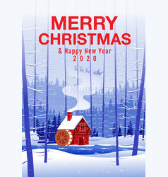 merry christmas and happy new year house in the vector image
