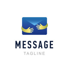 message logo template hand holding envelope mail vector image