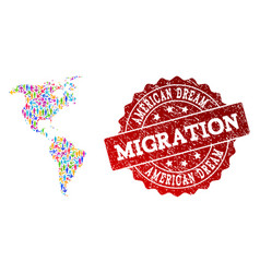 Migration composition of mosaic map of south and vector