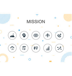 Mission trendy infographic template thin line vector