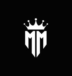 mm logo monogram emblem style with crown shape vector image