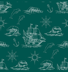 Nautical background with sailing vessels vector