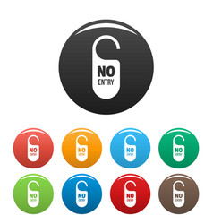 No entry paper door hanger icons set color vector