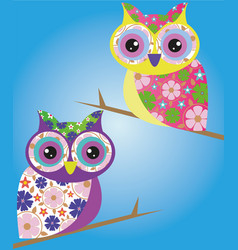 owl bird wild cartoon vector image