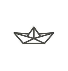 paper boat icon line origamy symbol vector image
