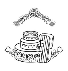 Party cake with flowers and and candle number vector