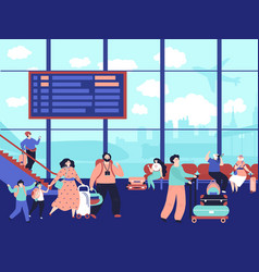 people in airport terminal family journey vector image