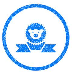 Pig reward ribbon rounded grainy icon vector