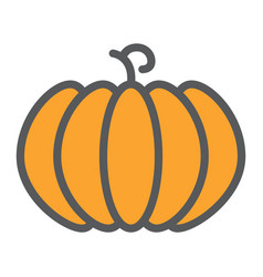pumpkin line icon fruit and vegetable vector image