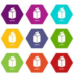quatro packag icons set 9 vector image