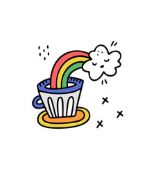 rainbow coffee sticker vector image