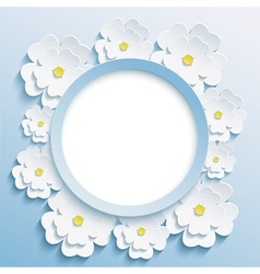 Round blue frame with 3d sakura vector