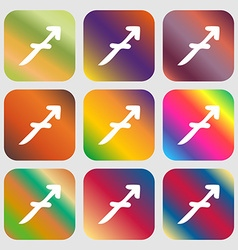 Sagittarius sign icon Nine buttons with bright vector
