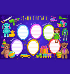 School timetable with balloons and toys vector