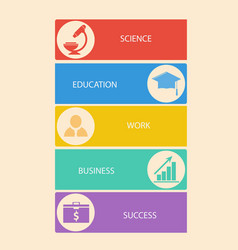 set of business education banners with icons vector image