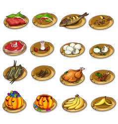 Set of delicious food and leftovers vector