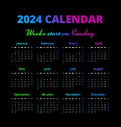 Simple 2024 year calendar weeks start on sunday vector