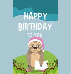 sloth cute animal birthday card vector image