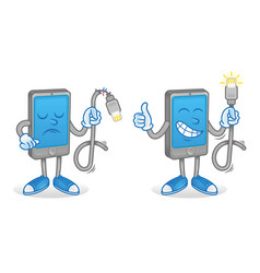 smartphone with good and broken usb cord vector image