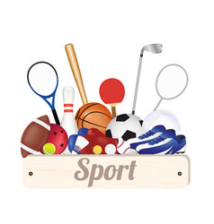 sport wood board with sport equipment vector image